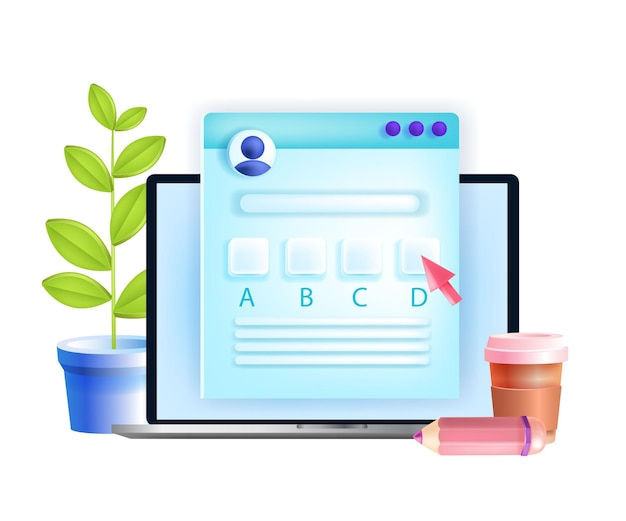 Online-prüfung, internet-test, fern-quiz-bildungskonzept, laptop-bildschirm, fragebogen.