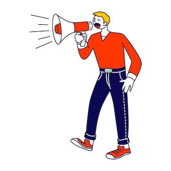 Online public relations, angelegenheiten konzept. mann schreit zu megaphon oder lautsprecher. karikatur flache illustration