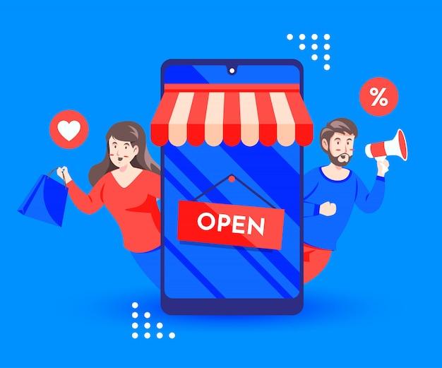 Online-rabattaktionen mit smartphone und megaphon einkaufen