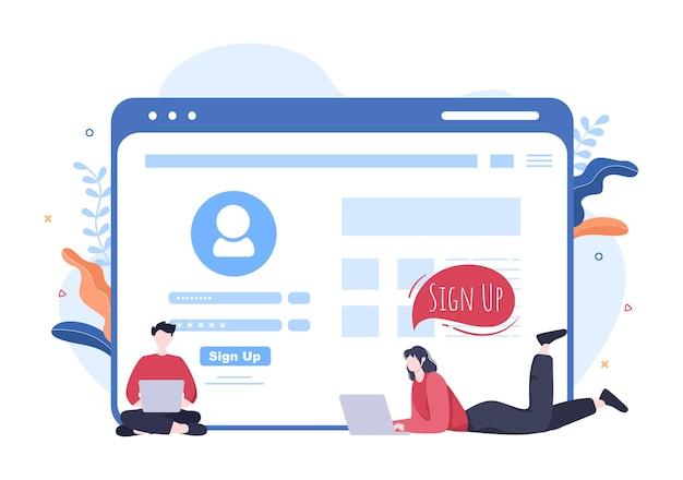 Online-registrierung oder anmeldung login für konto in der smartphone-app. benutzeroberfläche mit secure password mobile application, für benutzeroberfläche, webbanner, zugriff. cartoon-menschen-vektor-illustration