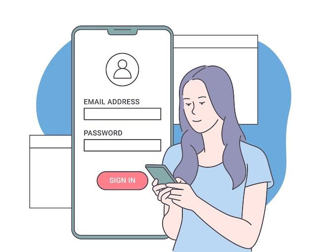 Online-registrierung und anmeldekonzept