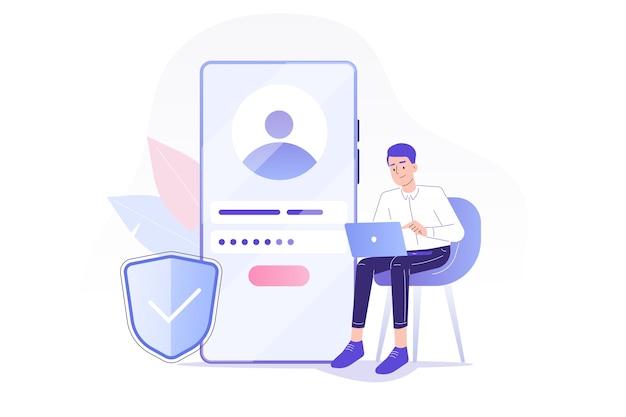 Online-registrierung und anmeldung mit mann in der nähe von smartphone sitzen