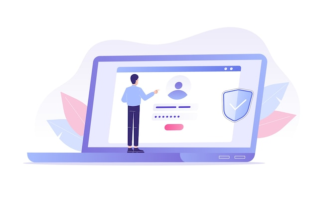 Online-registrierung und anmeldung mit mann mit laptop