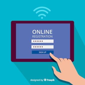 Online-registrierungskonzept hintergrund