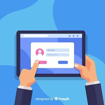 Online-registrierungskonzept mit flacher bauform