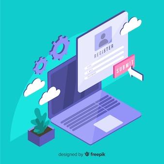 Online-registrierungskonzept mit isometrischer ansicht