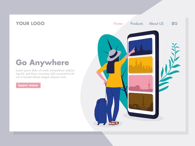 Online-reisen-illustration für die zielseite
