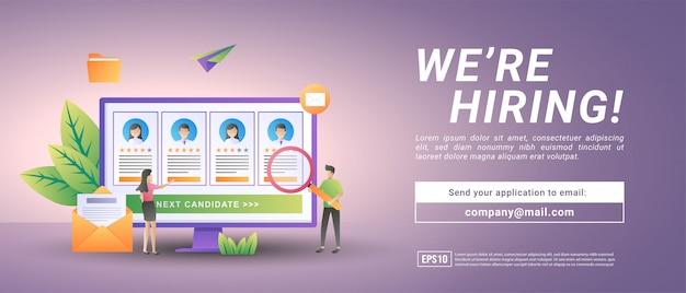 Online-rekrutierung. geschäftsleute öffnen die einstellung von mitarbeitern. suchen und wählen sie erfahrene kandidaten.