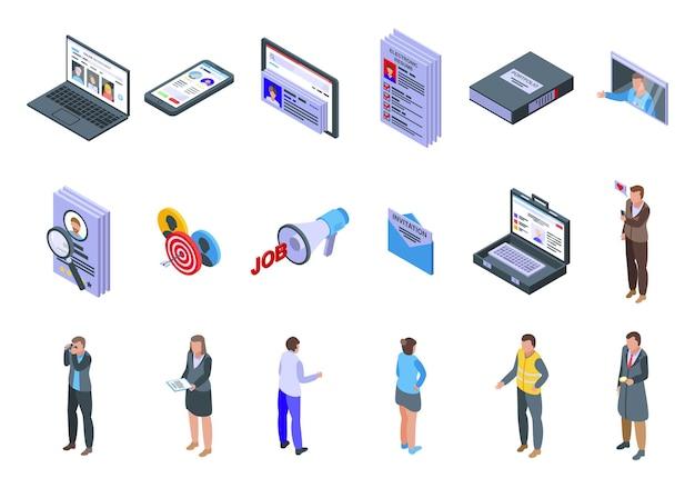 Online-rekrutierungssymbole festgelegt. isometrischer satz von online-rekrutierungssymbolen für das web