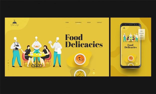 Online-restaurant-app im smartphone mit küchenchef, der kunden, die auf dem esstisch sitzen, speisen serviert