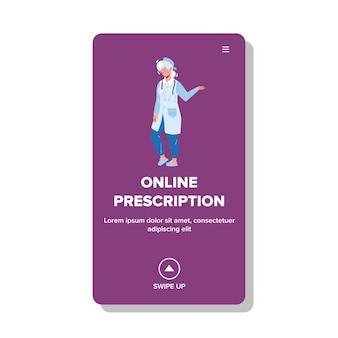 Online-rezept und beratung arzt vektor. krankenhausarbeiterin, beraterin, patientin und verschreibungspflichtige online-medikamente zur behandlung von krankheiten. charakter krankenschwester web-flache cartoon-illustration