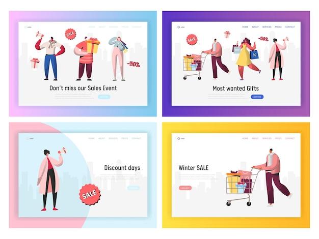 Online sale shopping promotion landing page set.