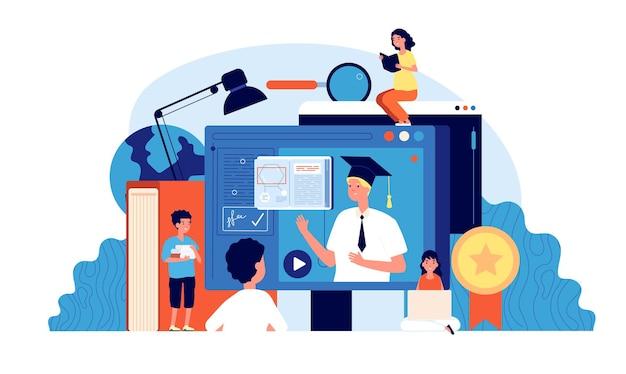 Online schule. kreatives kostenloses e-learning.