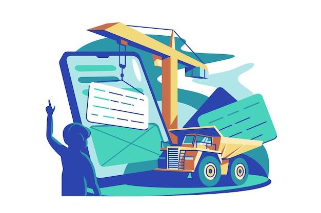 Online-service-building-tool vektor-illustration online-service oder plattform flache stil mobile app entwicklung moderne technologie und verbesserungskonzept isoliert
