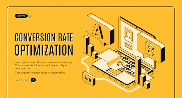 Online-service der conversion-rate-optimierung isometrische vektor-web-banner