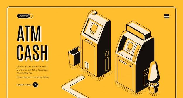 Online-service des geldwechsels, bank-geldautomat-bankomat-isometrische vektor-netzfahne