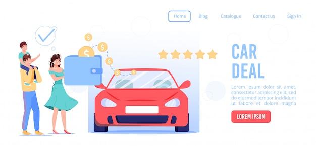 Online-service für eine erfolgreiche landingpage für autoverträge. familienpaar kinder machen autovermietung, fahrgemeinschaft, carsharing-vereinbarung über e-wallet bezahlen. digitale anwendung für den internet-automobilausstellungsraum