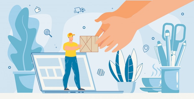 Online-service-metapher für die zustellung von büropaketen