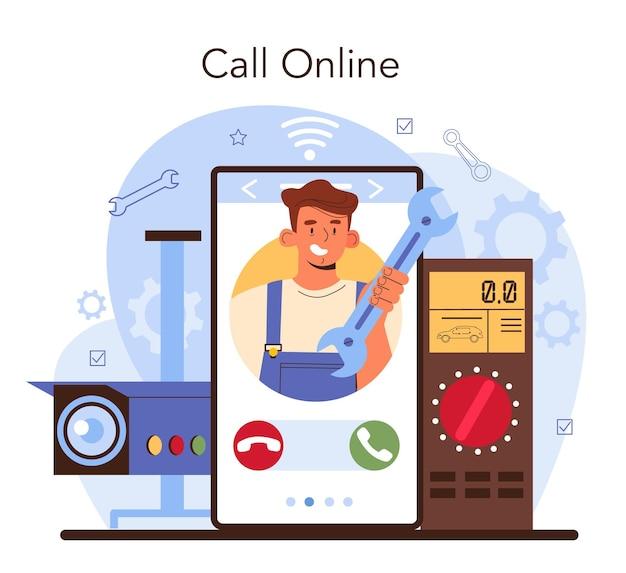 Online-service oder plattform für autoreparaturservice. diagnosegeräte für den autoservice. werkstattmechaniker in uniform. online-anruf. flache vektorillustration.
