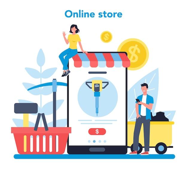 Online-service oder plattform für den abbau von kohle oder mineralien