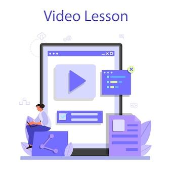 Online-service oder -plattform für die back-end-entwicklung. softwareentwicklungsprozess. verbesserung der website-oberfläche. online-videolektion.