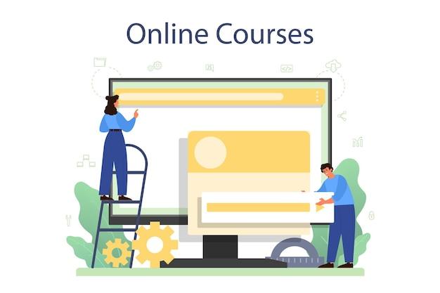 Online-service oder plattform für frontend-entwickler. verbesserung des designs der website-oberfläche. programmierung und codierung. online kurs.