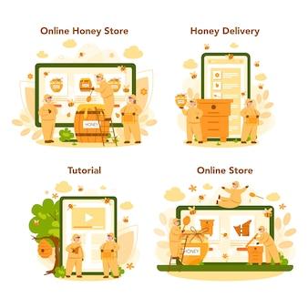 Online-service oder plattform für hiver oder imker auf verschiedenen geräten. professioneller bauer mit bienenstock und honig. bienenhaus, imkerei und honigproduktion.