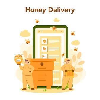 Online-service oder plattform für hiver oder imker. professioneller bauer mit bienenstock und honig. online-lieferung von honig. bienenhaus, imkerei und honigproduktion. vektorillustration