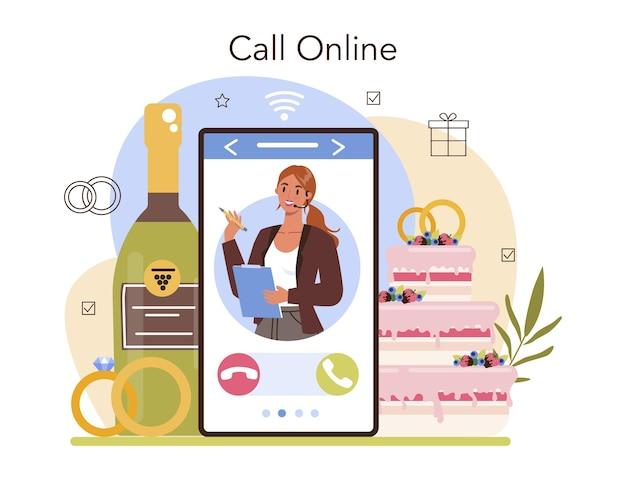 Online-service oder plattform für hochzeitsplaner. veranstalter, der hochzeitsveranstaltung plant. koordination der eheschließung von braut und verlobter. online-anruf. flache vektorillustration