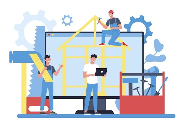 Online-service oder plattform für holzarbeiter oder zimmerleute. tischler- und schreinerprojekt oder website. isolierte vektorillustration