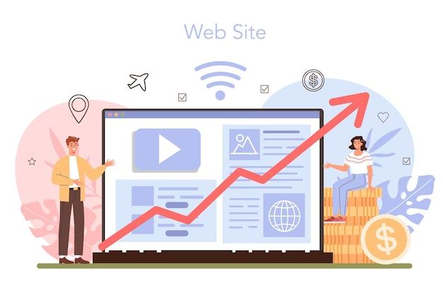 Online-service oder plattform für reisebüro-marketingkampagnen. werbung für reiseunternehmen. geschäft mit reisebüros. webseite. flache vektorillustration