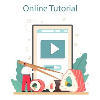 Online-service oder plattform für sushi-köche. restaurantkoch kocht brötchen und sushi. professioneller arbeiter. online-tutorial. isolierte vektorillustration