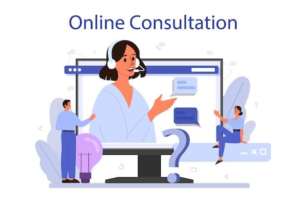 Online-service oder plattform für technischen support. idee des kundenservice. berater, der dem kunden wertvolle informationen liefert. online-beratung. vektorillustration