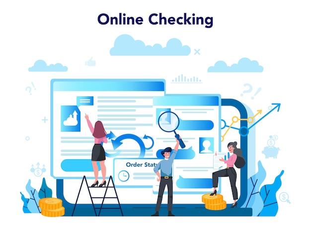 Online-service oder -plattform prüfen. online-überprüfung des geschäftsbetriebs.