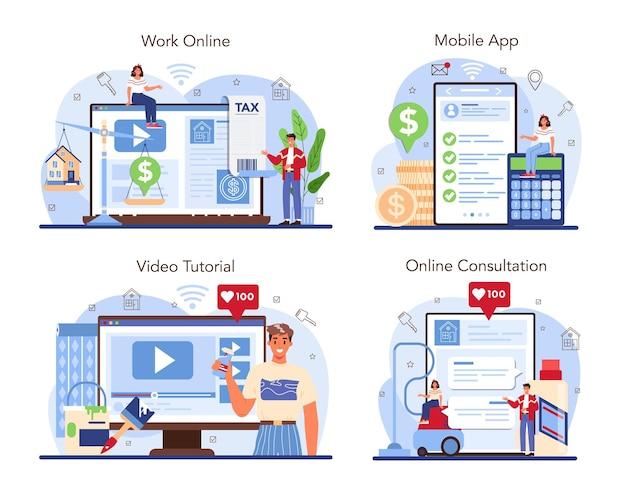 Online-service oder plattform-set der immobilienbranche. unterstützung von immobilienmaklern und hilfe bei der immobilienkostenermittlung. online-beratung, arbeit, mobile app, video-tutorial. flache vektorillustration