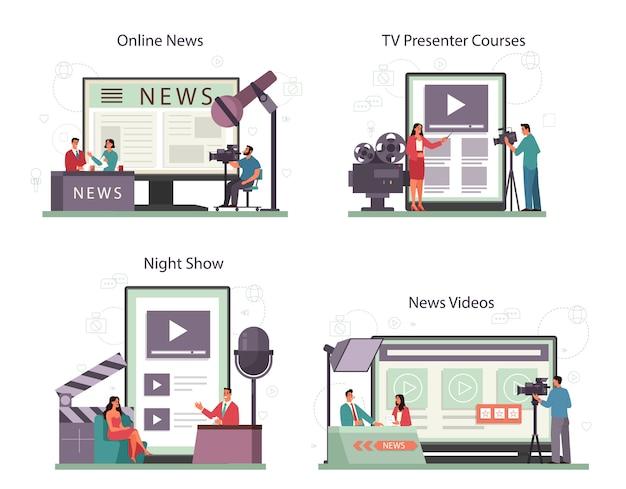 Online-service oder plattform-set für fernsehmoderatoren. fernsehmoderator im studio. der sender spricht vor der kamera und berichtet über neuigkeiten. online-nachrichten, nachtshow, tv-moderatorenkurs. isolierte vektorillustration