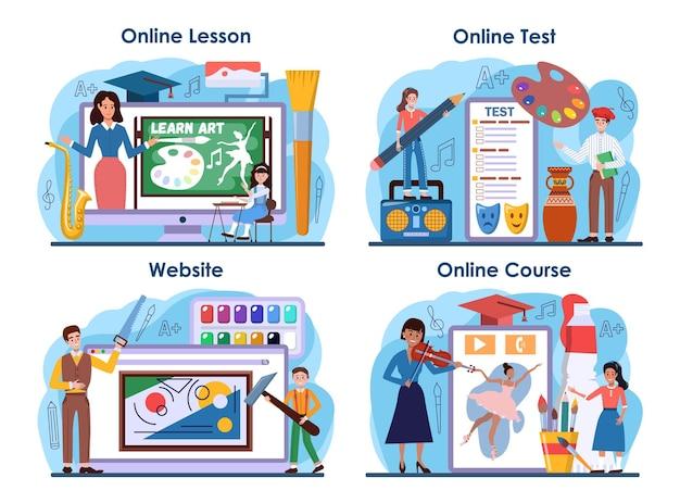 Online-service oder plattform-set für kunstschulen. student, der kunstwerkzeuge hält.