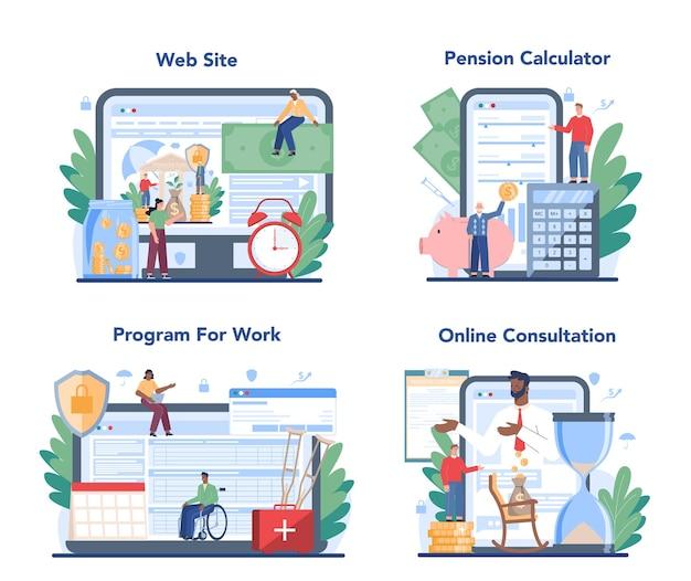 Online-service oder plattformset der pensionskasse. geld sparen für den ruhestand, finanzielle unabhängigkeit idee. online-beratung, rentenrechner, website.