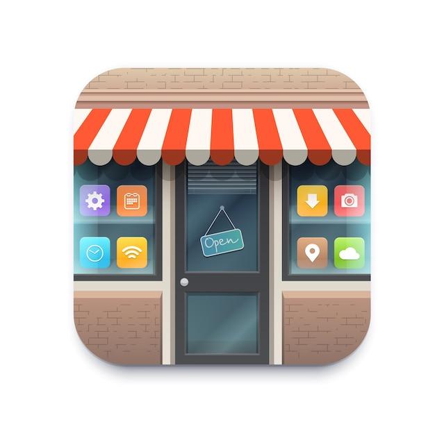 Online-shop-anwendungsmarktplatz-vektorsymbol für webshop-markt. online-shop-handy-app-schaltfläche für den kauf und verkauf von digitalen geschäften oder märkten, intelligente einkaufs- und liefertechnologie