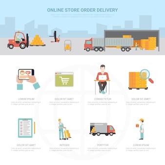 Online-shop bestellung lieferung infografiken versand transport e-commerce-geschäft