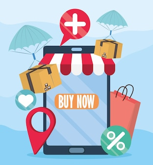 Online-shop-bildschirm mobil