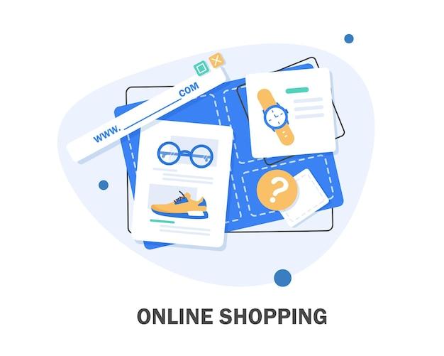 Online shop. digitales marketing, geschäft, e-commerce-einkaufskonzept. gestreifte markise, flache designillustration