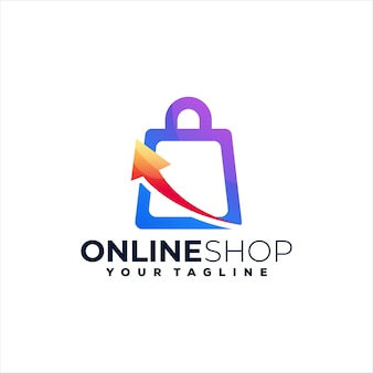 Online-shop farbverlauf logo design