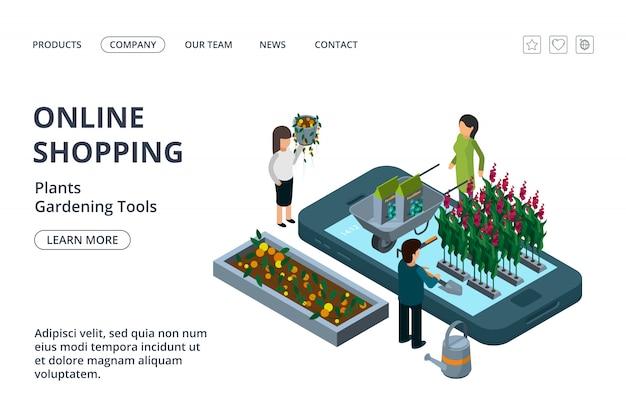 Online-shop für gartengeräte, pflanzen und blumen. isometrische online-garten landing page vorlage
