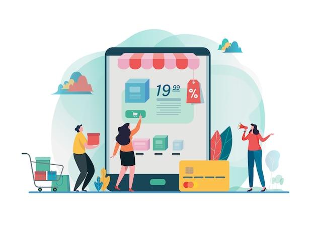Online-shop kaufen einkaufen auf dem handy.