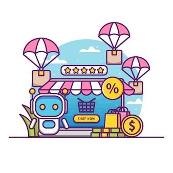 Online-shop-konzept mit niedlichen assistenten roboter