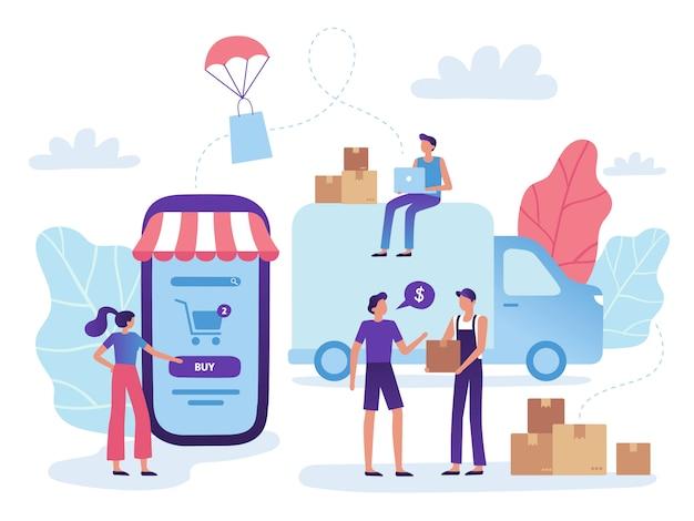 Online-shop lieferung. versand von einzelhandelskäufen im webshop, einkauf auf dem warenmarkt und einkaufsgeschäft
