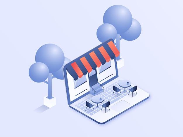 Online-shop mit café-atmosphäre illustration 3d-isometrisches vektordesign