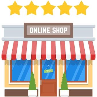 Online-shop mit fünf-sterne-kundenerlebnis-vektorsymbol