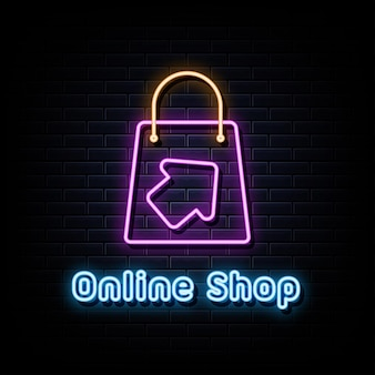 Online shop neon signs vector design template neon style